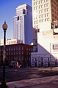 Contrast between old and modern buildings in central business district, New Orleans, Louisiana, USA 1989