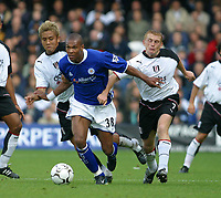 Photo: Jo Caird<br /> Fulham v Leicester<br /> Loftus Rd<br /> Barclaycard Premiership 2003<br /> 04/10/2003.<br /> <br /> Marcus Bent vs Junichi Inamoto and 7 Mark Pembridge