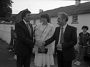 """The Carlingford Oyster Festival.1982.19.08.1982..08.19.1982.19th August 1982..Pictures and Images of the Carlingford Oyster Festival...The Minister For Fisheries and Forestry Mr Brendan Daly officially opened  The Carlingford Oyster Festival. The Chairman of the organising committee was Mr. Joe McKevitt..""""The Oyster Pearl"""" was Ms Deirdre McGrath..The Minister accompanied by the """"Oyster Pearl"""", Ms McGrath  meet some of the organising committee."""