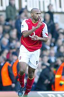 13/11/2004 - FA Barclays Premiership - Tottenham Hotspur v Arsenal - White Hart Lane<br />Arsenal's goalscorer Thierry Henry hushes the Tottenham crowd after he scores an equalizing goal making the score 1-1<br />Photo:Jed Leicester/Back page images