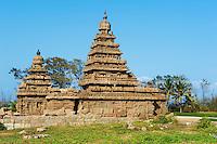 Inde, etat du Tamil Nadu, Mamallapuram ou Mahabalipuram, temple du Rivage, patrimoine mondial de l Unesco // India, Tamil Nadu, Mamallapuram or Mahabalipuram, The Shore Temple, Unesco world heritage