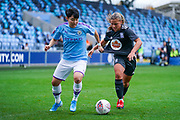 Manchester City Women forward Lee Geum-min (17) and Birmingham City Women goalkeeper Sarah Mayling (2) in action during the FA Women's Super League match between Manchester City Women and BIrmingham City Women at the Sport City Academy Stadium, Manchester, United Kingdom on 12 October 2019.