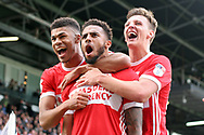Cyrus Christie of Middlesbrough (c) celebrates with his team mates after he scores his team's first goal. EFL Skybet championship match, Fulham v Middlesbrough at Craven Cottage in London on Saturday 23rd September 2017<br /> pic by Steffan Bowen, Andrew Orchard sports photography.