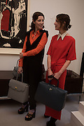 STEFANIA PRAMMA; VALERIA NAPOLEONE, Stefania Pramma launched her handbag brand PRAMMA  at the Kensington residence of her twin sister, art collector Valeria Napoleone.. London.  29 April 2015