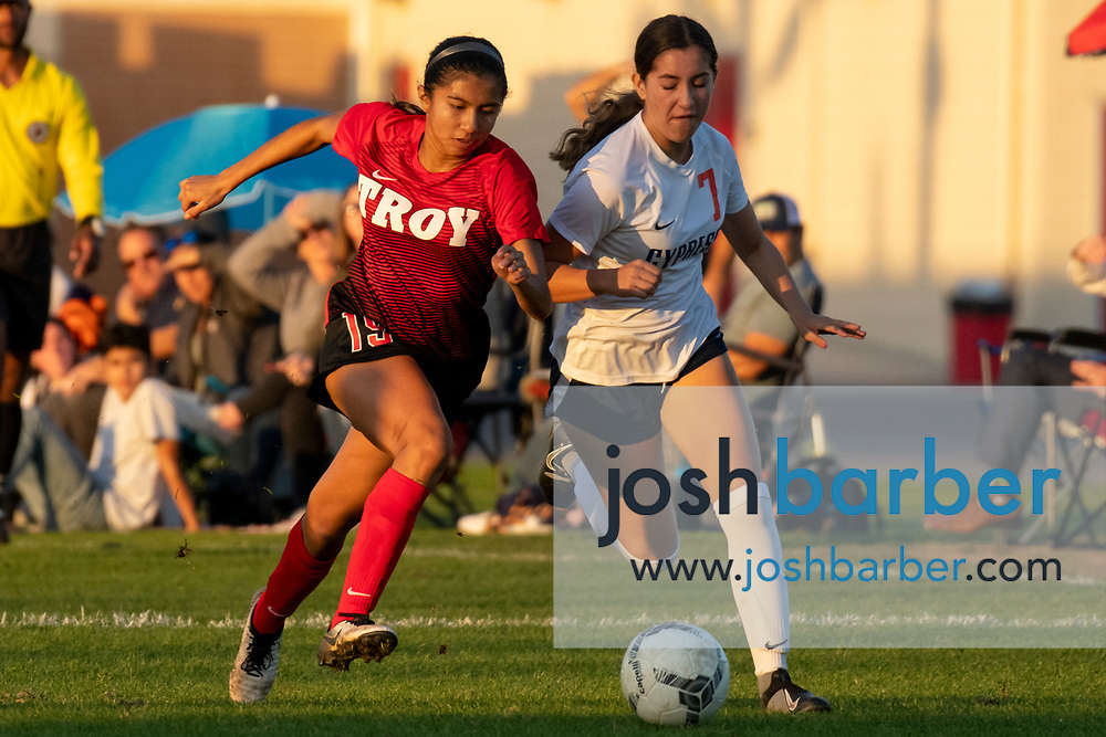 Troy's Ashley Bautista (19), Cypress' Kate Gutierrez (7) during a nonleague game at Troy High School on Thursday, December 12, 2019 in Fullerton, Calif. (Photo by Josh Barber for The Orange County Register/SCNG)