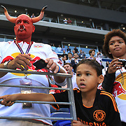 A New York Red Bulls fan dressed in bulls horns during the New York Red Bulls V Chivas USA Major League Soccer match at Red Bull Arena, Harrison, New Jersey, 23rd May 2012. Photo Tim Clayton