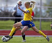 Fotball<br /> Landskamp J15/16 år<br /> Tidenes første landskamp for dette alderstrinnet<br /> Sverige v Norge 1-3<br /> Steungsund<br /> 11.10.2006<br /> Foto: Anders Hoven, Digitalsport<br /> <br /> Elin Karlsson - Sverige
