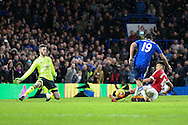 Chelsea's Diego Costa scores during the Barclays Premier League match between Chelsea and Manchester United at Stamford Bridge, London, England on 7 February 2016. Photo by Ellie Hoad.
