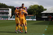 Jon Parkin of Newport county (9) celebrates with his teammates after he scores his teams 1st goal to equalise at 1-1.  EFL Skybet football league two match, Newport county v Cheltenham Town at Rodney Parade in Newport, South Wales on Saturday 10th September 2016.<br /> pic by Andrew Orchard, Andrew Orchard sports photography.