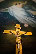 The altar crucifix and a depiction of Jesus Christ on Saturday, July 10, 2021, at St. Paul Lutheran Church in the Marigny area of New Orleans.  LCMS Communications/Erik M. Lunsford