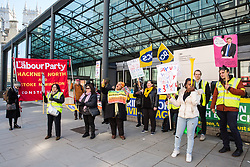 London, UK. 10th April 2019. Outsourced workers belonging to the Public & Commercial Services (PCS) union stand on a picket line outside their place of work at the Government Department for Business, Energy and Industrial Strategy (BEIS) during strike action to demand a real living wage of £10.55 per hour (the Living Wage Foundation's London Living Wage) and terms and conditions comparable with civil servants who work in the same department.