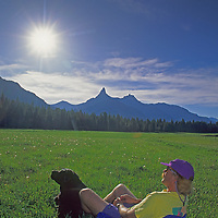 Crazy Creek chair inventor Rob Hart enjoys view of Pilot Peak in Wyoming.