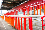 Empty stand due to Covid At Stevenage FC's Lamex Stadium during the EFL Sky Bet League 2 match between Stevenage and Walsall at the Lamex Stadium, Stevenage, England on 20 February 2021.
