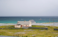 Boarded up house on Inis Oirr the Aran Islands in Galway Ireland