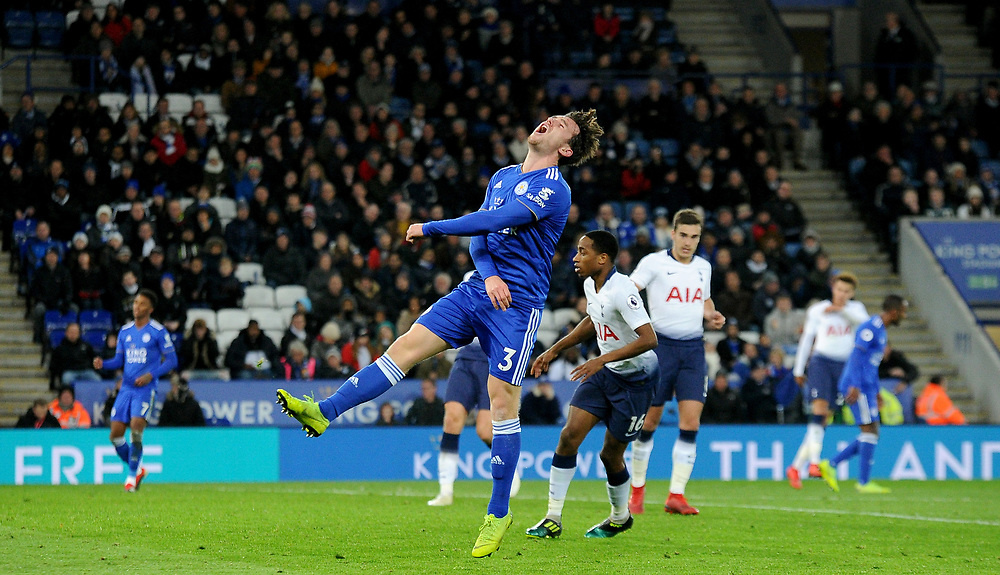 Leicester City's Ben Chilwell screams in frustration at his team not scoring a goal<br /> <br /> Photographer Hannah Fountain/CameraSport<br /> <br /> The Premier League - Leicester City v Tottenham Hotspur - Saturday 8th December 2018 - King Power Stadium - Leicester<br /> <br /> World Copyright © 2018 CameraSport. All rights reserved. 43 Linden Ave. Countesthorpe. Leicester. England. LE8 5PG - Tel: +44 (0) 116 277 4147 - admin@camerasport.com - www.camerasport.com