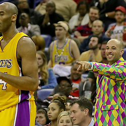Feb 4, 2016; New Orleans, LA, USA; A fan points to Los Angeles Lakers forward Kobe Bryant (24) during the second half of a game against the New Orleans Pelicans at the Smoothie King Center. The Lakers defeated the Pelicans 99-96. Mandatory Credit: Derick E. Hingle-USA TODAY Sports