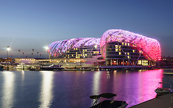 Yas Viceroy Hotel illuminated at night in Yas Marina on Yas Island Abu Dhabi United Arab Emirates
