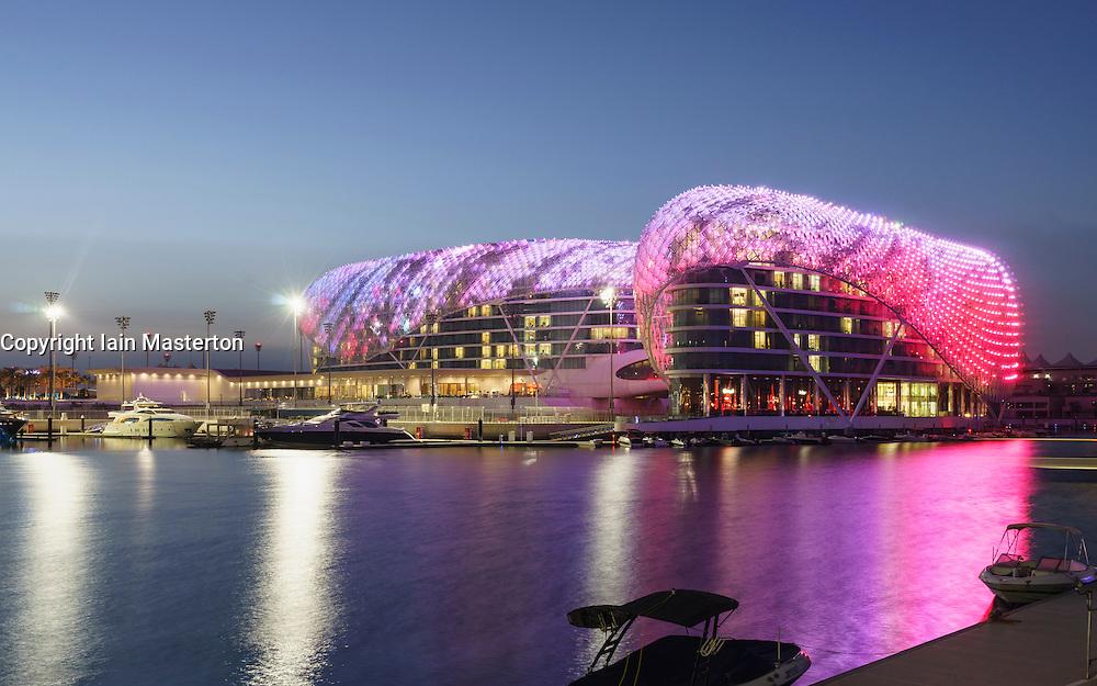 Yas Viceroy Hotel illuminated at night in Yas Marina on Yas Island Abu Dhabi United Arab Emirates