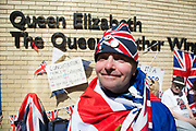 London, UK. Thursday 23rd April 2015. Royalist John Loughrey opposite the Lindo Wing of St Mary's Hospital, where Kate Middleton, Duchess of Cambridge is due to give birth to her second child. Proud to be dressed in Union Jack flags for birth of the latest Royal baby. Mr Loughrey is always at these important events saying that it is important that we be a part of and record history.
