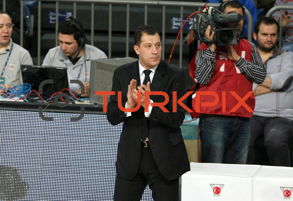 Anadolu Efes's coach Ufuk Sarica during their Turkish Basketball League match Anadolu Efes between Mersin BSB at Sinan Erdem Arena in Istanbul, Turkey, Saturday, January 14, 2012. Photo by TURKPIX