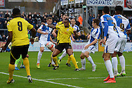 Chesham United defender Curtis Ujah tries to shoot during the The FA Cup match between Bristol Rovers and Chesham FC at the Memorial Stadium, Bristol, England on 8 November 2015. Photo by Alan Franklin.