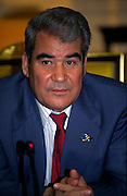 Ashgabat, Turkmenistan, October 1997..President Saparmurat Niyazov inside his presidential palace. Poverty-stricken, but rich in oil and gas resources, this Central Asian former Soviet republic is ruled by the autocratic President Saparmurat Niyazov, or Turkmenbashi as he has renamed himself...............