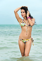 Sexy young brunette woman in a bikini standing knee deep in the ocean with her hands to her head holding her hair in the sea breeze