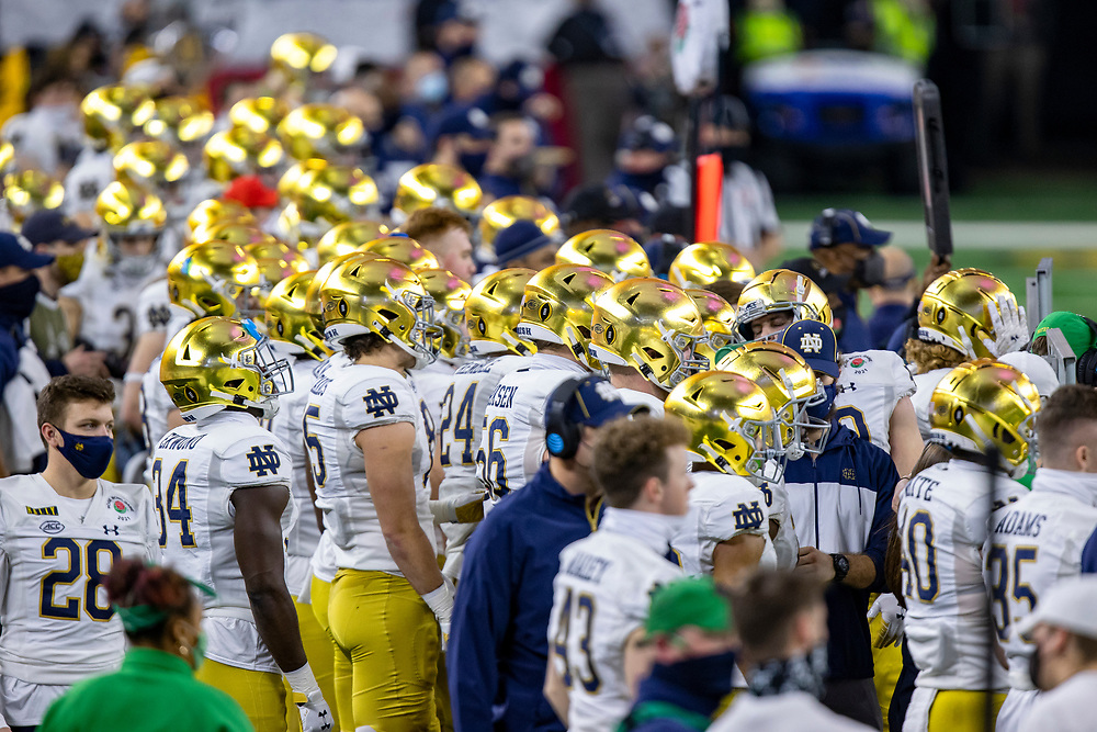 01 January 2021: Notre Dame Fighting Irish players line the sideline during the Rose Bowl/College Football Playoff semi final game between the Alabama Crimson Tide and the Notre Dame Fighting Irish at AT&T Stadium in Arlington, Texas.   Photo by Matthew Visinsky/CBAA