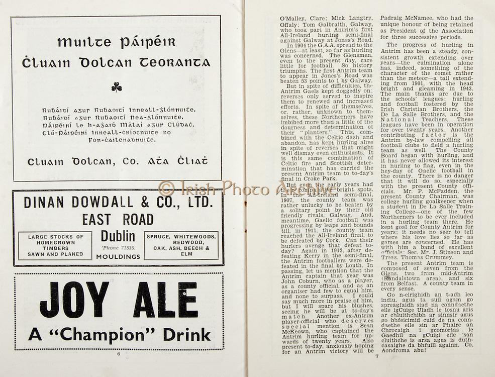 All Ireland Senior Hurling Championship Final, .Brochures,.05.09.1943, 09.05.1943, 5th September 1943, .Antrim 0-4, Cork 5-16,.Minor Dublin v Kilkenny, .Senior Antrim v Cork, .Croke Park, ..Advertisements, Muilte Paipeir Cluain Dolcan Teoranta, Dinan Dowdall & Co. LTD. East Road Dublin, Joy Ale,