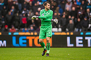 Lukasz Fabianski , the goalkeeper of Swansea City warms up. Premier league match, Swansea city v Leicester city at the Liberty Stadium in Swansea, South Wales on Saturday 21st October 2017.<br /> pic by Aled Llywelyn, Andrew Orchard sports photography.