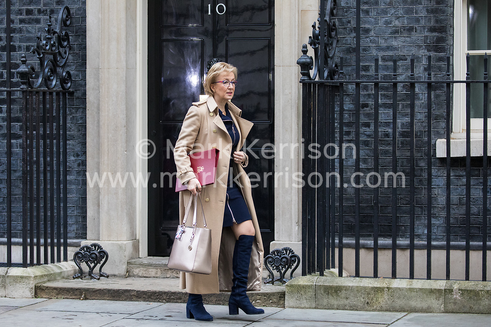 London, UK. 7 January, 2020. Andrea Leadsom, Secretary of State for Business, Energy and Industrial Strategy, leaves 10 Downing Street following a Cabinet meeting.