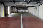 parking garage entrance with pedestrian side door exit