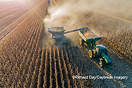 63801-13001 Harvesting corn and unloading into grain cart in fall-aerial  Marion Co. IL
