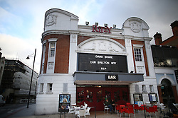 © Licensed to London News Pictures. 11/01/2016. London, UK. The Ritzy Cinema pays tribute to David Bowie in Brixton. The Death of David Bowie, who was born in Brixton, has been announced today.  Photo credit: Peter Macdiarmid/LNP