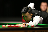 Marco Fu (HK) in action. Marco Fu (HK) v Mark Allen (NI) , Quarter-Final match at the Dafabet Masters Snooker 2017, at Alexandra Palace in London on Thursday 19th January 2017.<br /> pic by John Patrick Fletcher, Andrew Orchard sports photography.