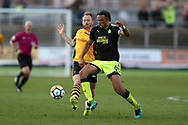 Leon Legge, the Cambridge Utd captain in action. The Emirates FA Cup, 2nd round match, Newport County v Cambridge United at Rodney Parade in Newport, South Wales on Sunday 3rd December 2017.<br /> pic by Andrew Orchard,  Andrew Orchard sports photography.