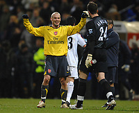 Photo: Paul Greenwood.<br />Bolton Wanderers v Arsenal. The FA Cup. 14/02/2007. Arsenals Freddie Ljungberg, left, and Manuel Almunia celebrate at the final whistle