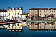 Beaumaris reflected in the paddling pool on the seafront on a crystal clear day. <br />