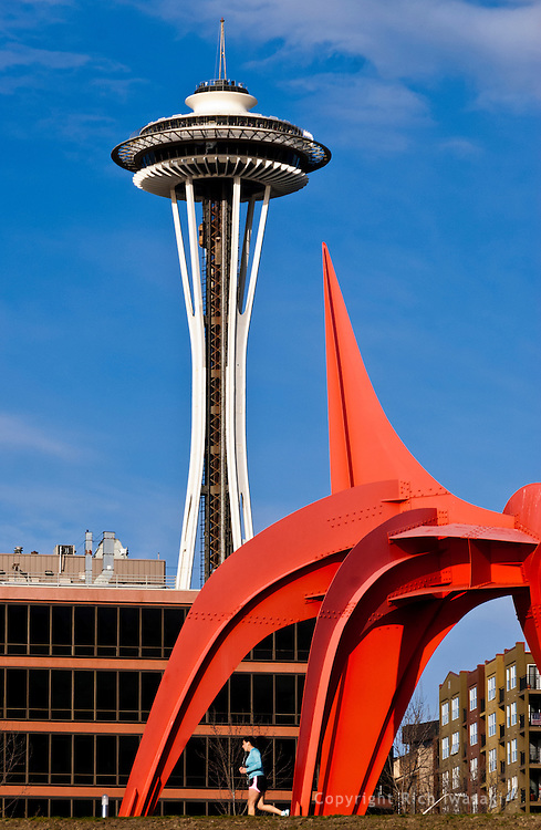 """""""Eagle"""" sculpture by Alexander Calder and Seattle Space Needle building, Seattle, Washington"""