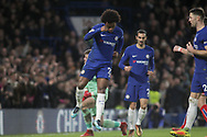 Willian of Chelsea celebrates after he scores his teams 4th goal. <br /> Premier league match, Chelsea v Stoke city at Stamford Bridge in London on Saturday 30th December 2017.<br /> pic by Kieran Clarke, Andrew Orchard sports photography.