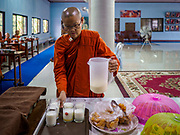13 JANUARY 2019 - NAKHON PATHOM, THAILAND:  A female monk at Wat Songdhammakalyani serves milk before breakfast after the monks' morning alms rounds. The Sangha Supreme Council, Thailand's governing body of Buddhist monks, bans the ordination of female monks, but hundreds of Thai women have gone abroad, mostly to Sri Lanka and India, to be ordained. There are about 270 women monks in Thailand and about 250,000 male monks. There are 7 monks and 6 novices at Wat Songdhammakalyani in Nakhon Pathom. It was the first temple in Thailand to have female monks. The temple opened 60 years ago and has always been a temple of women monks. Women can be ordained as novices in Thailand, but to be ordained as a full monk would require the participation of 10 female monks and 10 male monks, and male monks in Thailand are barred from participating in women's ordination ceremonies.     PHOTO BY JACK KURTZ