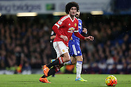 Marouane Fellaini of Manchester United in action. Barclays Premier league match, Chelsea v Manchester Utd at Stamford Bridge in London on Sunday 7th February 2016.<br /> pic by John Patrick Fletcher, Andrew Orchard sports photography.