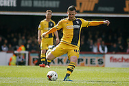 Ross McCormack of Fulham taking a free kick .Skybet football league championship match, Brentford  v Fulham at Griffin Park in London on Saturday 30th April 2016.<br /> pic by Steffan Bowen, Andrew Orchard sports photography.