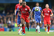 Wes Morgan, the Leicester City captain in action. Premier league match, Chelsea v Leicester city at Stamford Bridge in London on Saturday 15th October 2016.<br /> pic by John Patrick Fletcher, Andrew Orchard sports photography.