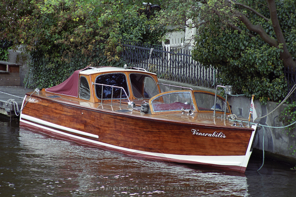 Wooden boat on an Amsterdam canal  The Netherlands, Holland