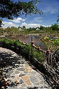 View of path overlooking hot water pools. Binh Chau hot springs, Vietnam