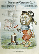 Trade card for the Fairbank Canning Company, Chicago, Illinois, c1890. Lion Brand corned beef. In background, cattle are entering abattoir and canning factory. Chromolithograph.