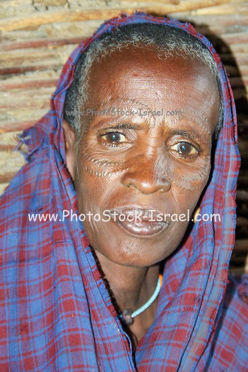 Portrait of a mature Datooga woman Photographed in Lake Eyasi Tanzania
