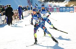 Simon Desthieux (FRA) and Simon Fourcade (FRA)  during Men 15 km Mass Start at day 4 of IBU Biathlon World Cup 2015/16 Pokljuka, on December 20, 2015 in Rudno polje, Pokljuka, Slovenia. Photo by Vid Ponikvar / Sportida