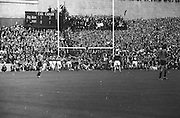 Down's J Purdy jubilant after scoring with Kerry backs on left and right and goalie J Colloty looking very disappointed during the All Ireland Senior Gaelic Football Final Kerry v Down in Croke Park on the 22nd September 1968. Down 2-12 Kerry 1-13.